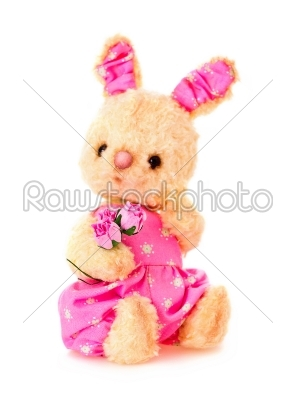 stock photo: rabbit bunny toy with flowers isolated in hand-Raw Stock Photo ID: 68248