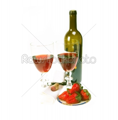 stock photo: red wine bottle and two glasses with strawberries-Raw Stock Photo ID: 58673