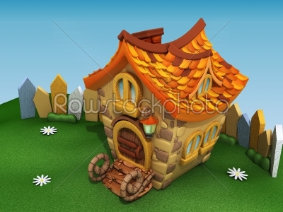 stock photo: render cartoon house on the green hill with camomiles-Raw Stock Photo ID: 68038