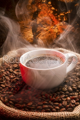 stock photo: sack full of still hot freshly roasted coffee beans-Raw Stock Photo ID: 73893