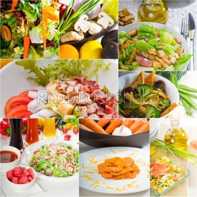 stock photo: salad collage composition nested on frame-Raw Stock Photo ID: 65090