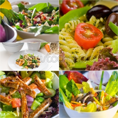 stock photo: salad collage composition nested on frame-Raw Stock Photo ID: 65442