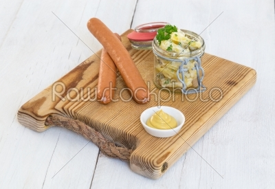 stock photo: sausages with mustard and potato salad-Raw Stock Photo ID: 70335