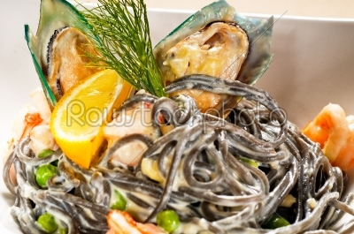 stock photo: seafood black spaghetti-Raw Stock Photo ID: 54157