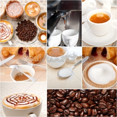 stock photo: selection of different coffee type on collage composition -Raw Stock Photo ID: 64486