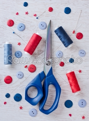 stock photo: sewing kit ona  wooden table-Raw Stock Photo ID: 68030