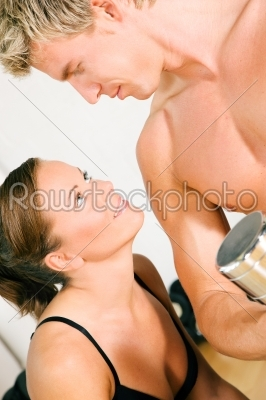 stock photo: sexy couple with dumbbells in gym-Raw Stock Photo ID: 49967