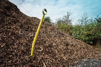 stock photo: shovel in mulch-Raw Stock Photo ID: 66423