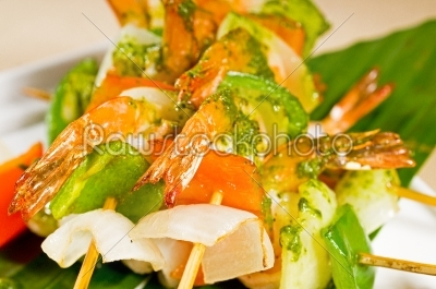 stock photo: shrimps and vegetables skewers-Raw Stock Photo ID: 54898