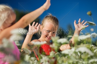 stock photo: sisters in a field of yarrow-Raw Stock Photo ID: 51533