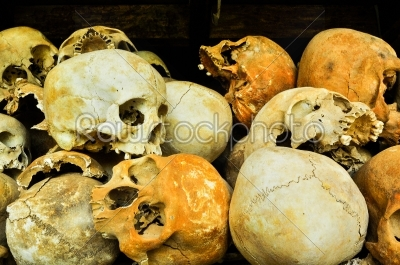 stock photo: skulls from the killing fields in cambodia this happened from around 1975 till 1979-Raw Stock Photo ID: 56873
