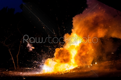 stock photo: smoke and fire at night-Raw Stock Photo ID: 75045