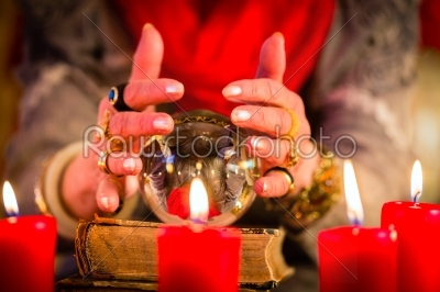 stock photo: soothsayer during esoteric session with crystal ball-Raw Stock Photo ID: 49861
