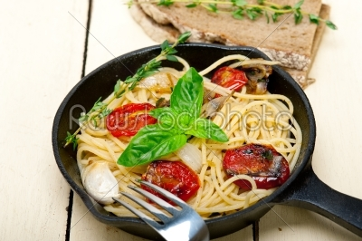 stock photo: spaghetti pasta with baked cherry tomatoes and basil -Raw Stock Photo ID: 65503