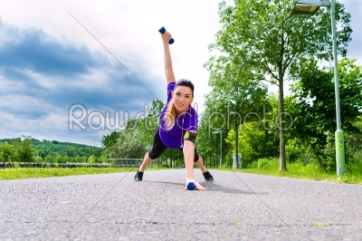 stock photo: sports outdoor  young woman doing fitness in park-Raw Stock Photo ID: 49197