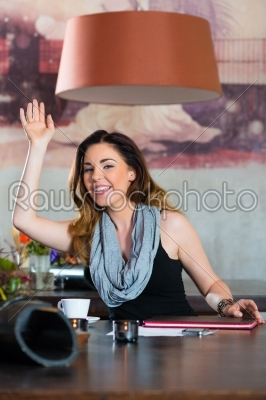 stock photo: student or businesswoman waiting in cafe-Raw Stock Photo ID: 48763