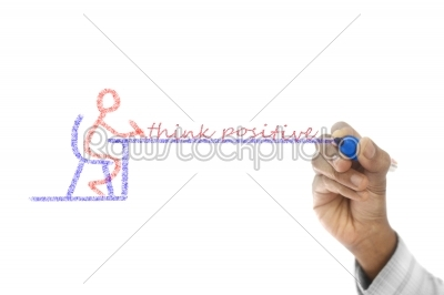 stock photo: think positive written  on transparent wipe board-Raw Stock Photo ID: 61485