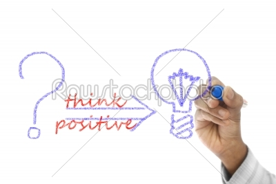 stock photo: think positive written  on transparent wipe board-Raw Stock Photo ID: 61491