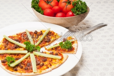 stock photo: turkish beef pizza with cucumber on top-Raw Stock Photo ID: 59092