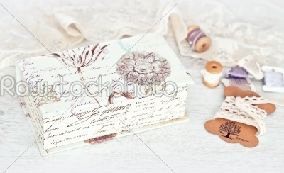 stock photo: vintage box with laces ribbons and threads-Raw Stock Photo ID: 68507