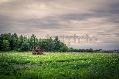 stock photo: water pump on a green field in dark weather-Raw Stock Photo ID: 69812