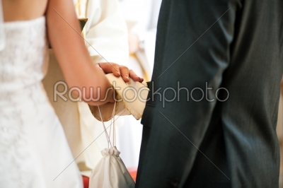 stock photo: wedding couple receiving blessing from priest-Raw Stock Photo ID: 49957