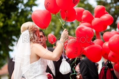 stock photo: wedding couple with balloons-Raw Stock Photo ID: 50008