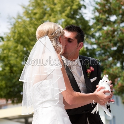 stock photo: wedding couple with dove in hand-Raw Stock Photo ID: 50007