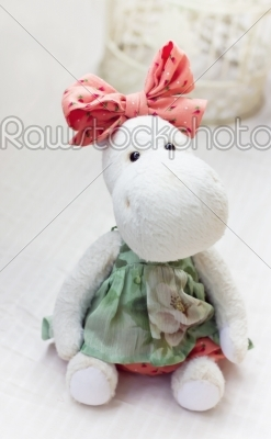 stock photo: white hippo toy with textile and sewing accessory-Raw Stock Photo ID: 68182