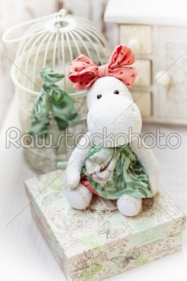 stock photo: white hippo toy with textile and sewing accessory-Raw Stock Photo ID: 68183