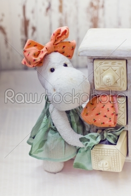 stock photo: white hippo toy with textile and sewing accessory-Raw Stock Photo ID: 68187