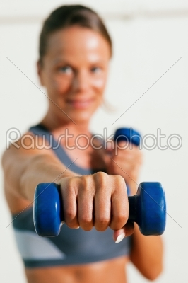 stock photo: woman with dumbbell in gym-Raw Stock Photo ID: 50729