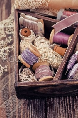stock photo: wooden box with laces ribbons and threads-Raw Stock Photo ID: 68381