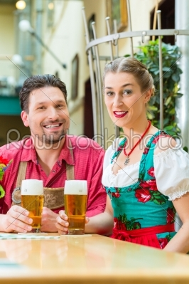 stock photo: young couple in bavaria in restaurant or pub-Raw Stock Photo ID: 48823