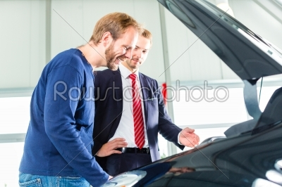 stock photo: young man and seller with auto in car dealership-Raw Stock Photo ID: 49817