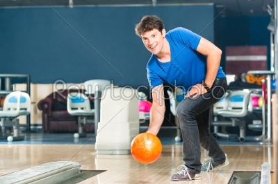 stock photo: young man bowling having fun-Raw Stock Photo ID: 49331